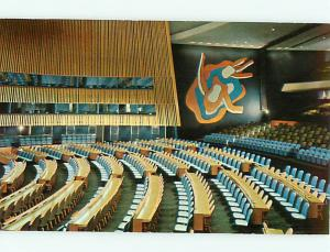 Vintage Postcard United Nations General Assembly Hall New York  # 1149