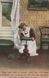 Maid Cleaning Antique Music Piano Stool Comic Postcard