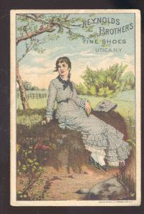 UTICA NEW YORK REYNOLDS BROS. SHOE STORE VICTORIAN TRADE CARD ADVERTISING