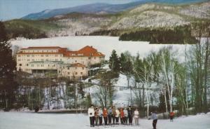 Ski Class on hill , Gray Rocks Inn , mont Tremblant , Quebec , Canada .PU-1958
