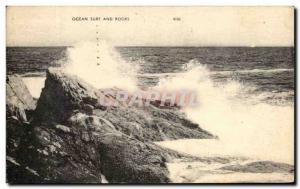 Old Postcard Ocean Surf And Rocks