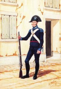 Postcard The Carabinieri of Italy, Carabinier of Foot 1814 #16-1