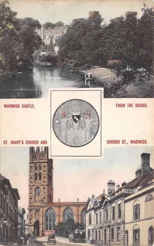 Vintage Postcard Warwick Castle from Bridge St Mary's Church & Coat of Arms