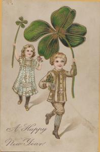 1907 Brilliant relief Children with large clovers A Happy