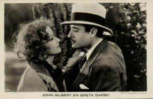PC CPA GRETA GARBO AND JOHN GILBERT, Vintage REAL PHOTO Postcard (b21151)