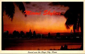 Florida Miami Skyline At Sunset 1967