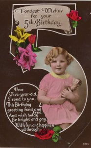Child With Action Man Type Doll Damaged Head RPC Postcard