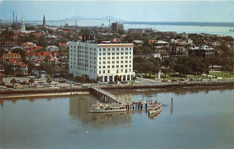 Charleston South Carolina~Hotel Fort Sumpter & Town Bird's Eye View~1950s Pc