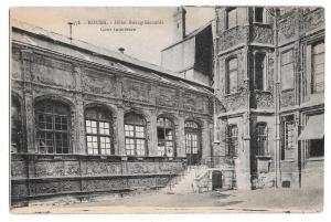France Rouen Hotel Bourgtheroulde Courtyard Vtg Postcard