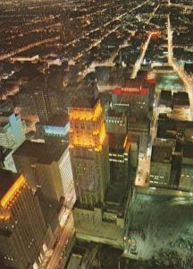 Canada Toronto Downtown Aerial View At Night