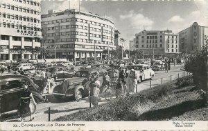 Morocco Postcard Casablanca Le Place de France classic vintage cars