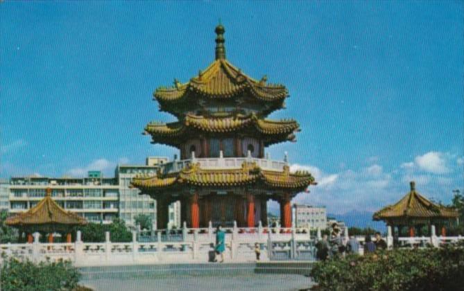 Taiwan Taipei Three Storied Chinese Pagoda In New Park 1973