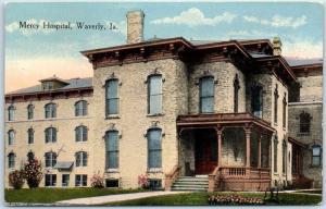 Waverly, Iowa Postcard MERCY HOSPITAL Building Front View c1910s