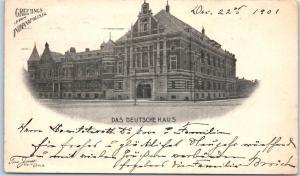 1901 Indianapolis, Indiana Postcard DAS DEUTSCHE HAUS Athenaeum Street View