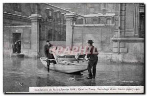 Old Postcard Paris Floods in January 1910 Flood of the Seine Gare Quai de Pas...