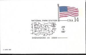 US UX117 Unused. US Flag,  Nat. Park Station - Shenandoah, Virginia