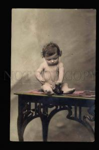 040446 NUDE Boy on Table w/ Boot. Vintage PHOTO