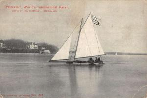Madison Wisconsin Princess Worlds Sail Boat Racer Antique Postcard K103248