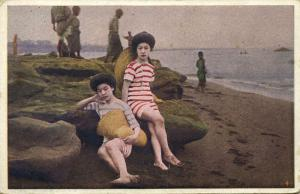 japan, Japanese Girls in Swimsuits Bathing Suits on the Beach (1910s)