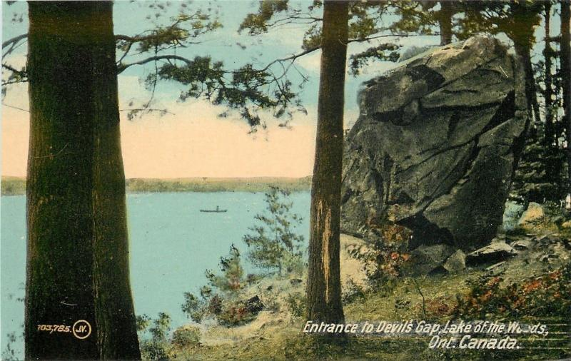 Lake of the Woods Ontario~Entrance to Devil's Gap~Boulder~1910 Postcard