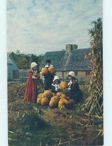 Pre-1980 KIDS IN COSTUMES WITH HALLOWEEN PUMPKINS Plymouth by Brockton MA AD3736