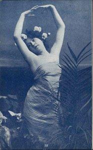 Pretty Woman w Flowers in Hair Strikes Pose c1910 Postcard