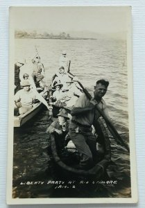 RPPC 1930s Liberty Party Rio Samare Postcard River Canoe Long Boats
