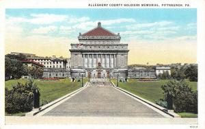 PITTSBURGH, PA Pennsylvania  ALLEGHENY COUNTY SOLDIERS MEMORIAL 1925 Info Card