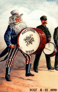 National Post Card Week May 6-12 1990 Uncle Sam Playing Drum