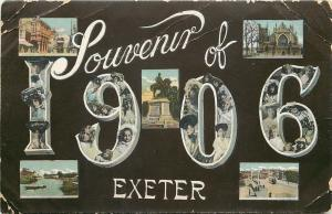 Exeter UK~1908 Souvenir Postcard~Large Numbers Ladies~Children~Downtown~Bridge