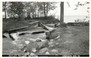 Crandon Wisconsin~Outlet to Lake Metonga~Rushing Water~Rocks~Logs~1940s RPPC