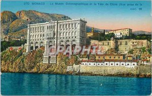 Old Postcard The Monaco Oceanographic Museum and Tete Chien Sea View taken