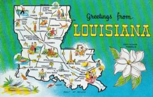 Greetings From Louisiana With Map