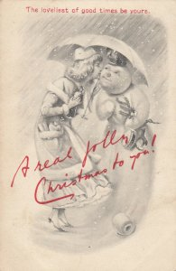 CHRISTMAS ; Woman , Umbrella & Snowman, 00-10s