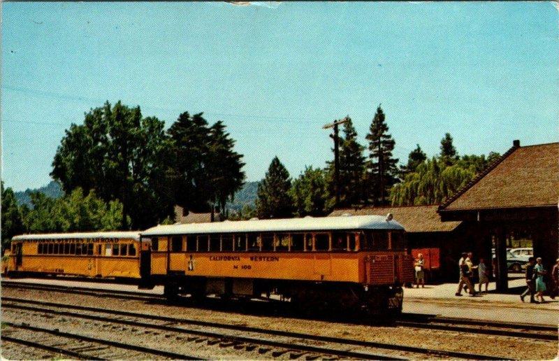 FORT BRAGG, CA ~ The Skunk California Western Railroad Diesel Train Postcard