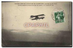 Old Postcard Jet Aviation Grande Champagne week Curtiss beating the lap record