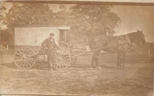 E28/ Occupational Real Photo RPPC Postcard c1910 Mail? Delivery Wagon Man 12