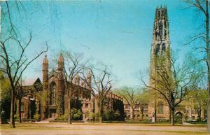 New Haven Connecticut~Yale University~Harkness Tower~Dwight Chapel~1958 Postcard