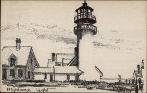 Cape Cod Highland Lighthouse Artist Drawn Used 1947 Postcard