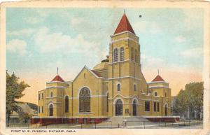 B54/ Guthrie Oklahoma Ok Postcard c1910 First M.E. Church Building