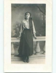 rppc 1920's PRETTY WOMAN WITH LONG HAIR AC8499