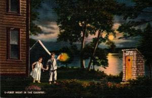 Humour First Night In The Country Young Couple Going To Outhouse