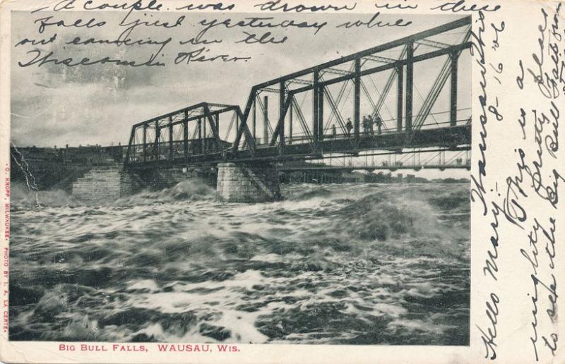 Bridge over Big Bull Falls at Wausau WI, Wisconsin - UDB