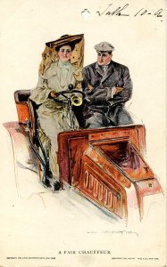 A Fair Chauffeur.    Artist: Howard Chandler Christy *Private Mailing Card* (...