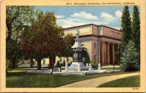 CALIFORNIA San Bernardino auditorium VINTAGE POSTCARD LINEN