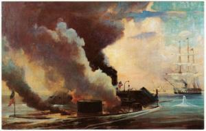 Battle of USS Monitor and Merrimack Hampton Roads Civil War Postcard 1950s-1960s