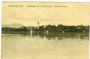 Seeshaupt mit Benediktenwand, Abendstimmung, Starnberger See (Bavaria), Germa...