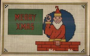 Christmas Art Deco Santa Claus Needle Point Motif c1910 Postcard