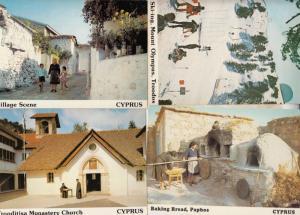 Cyprus Children With Grandma Bakery Skiing Troodos Monastry 4x Cyprus Postcard s