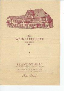 MC-151 - 1953 Wine Price List Hotel Schwan, Franz Winkel, Germany Vintage